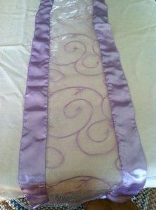 Tablecloths Factory Lavender Table Runners: Sheer Organza Satin Border Vine Motif Tablecloth