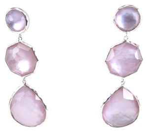 Ippolita IPPOLITA Sterling Silver 3 Stone Long Crazy 8 Purple Lavender Drop Earrings .925