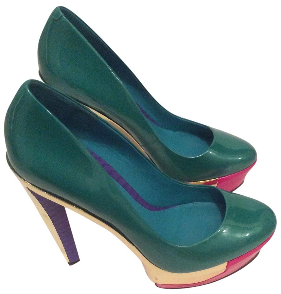B Brian Atwood Teal Colorful Gold Hot Pink Stilleto Chunky Colorful Teal Platforms ecbc47
