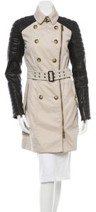 Burberry Prorsum Leather Sleeved Quilted Trench Coat Jacket