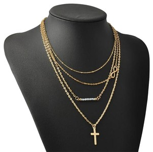 NEW Gold-Plated Multi Layered Cross, Infinity, Quartz Bead Necklace