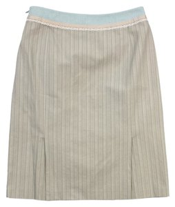 Burberry Beige Sky Blue Lace Trim Skirt