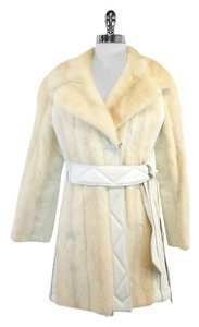 Cream White Fur Leather Coat