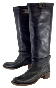 Chloé Black Leather Stacked Heel Boots