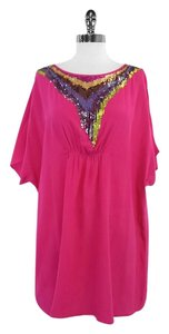 Trina Turk short dress Pink Silk Cold Shoulder Shift on Tradesy