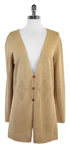 Cline Tan Knit V Neck Cardigan