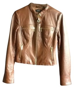 bebe Leather Gold Brown Leather Jacket