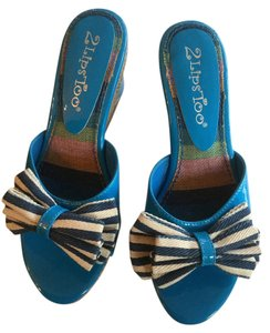 Two Lips Espadrille Cork Patent Blue white straw Wedges