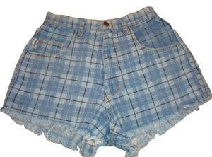 Vintage switch Plaid Denim Frayed Shorts Blue