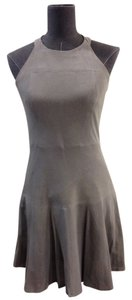 Parker short dress Gray Suede Leather Halter on Tradesy
