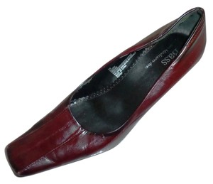Bass Chunky Heel BURGUNDY/EEL SKIN Pumps