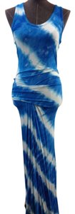 Blue, White Maxi Dress by Young Fabulous & Broke Yfb Maxi Tie Dye Size Xs