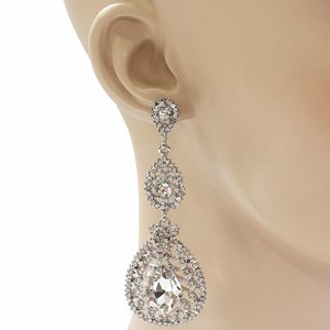 Silver Rhinestone Chandelier Bridal Earrings