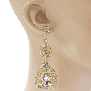 Gold Rhinestone Chandelier Bridal Earrings