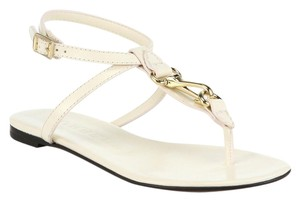 Burberry Reason Leather Thong Horsebit Hardware Flipflop White Women 36.5 6.5 White cream Sandals