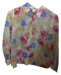 Alfred Dunner Button Down Shirt Off white floral