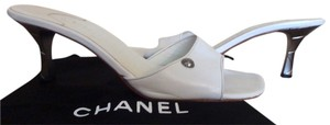 Chanel Silver Hardware White Sandals