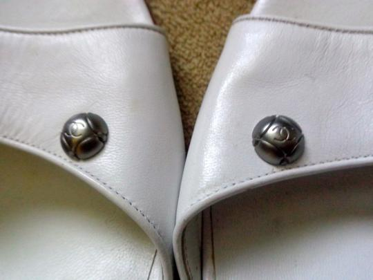 Chanel Silver Hardware Silver Heels Made In Italy Dust Bag White Sandals