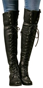 Breckelle's Tall Knee High Lace Up Black Boots