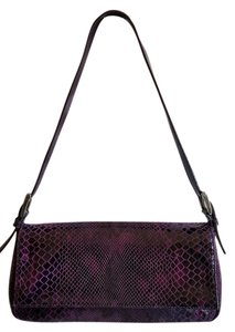 Michael Rome Brown Croc Embossed Leather Shoulder Bag