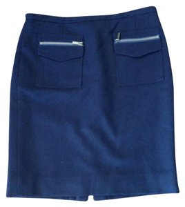 J.Crew Zippers Pockets Flannel Skirt Navy Blue