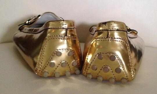 Ralph Lauren Collection Like New Moccasins Drivers Gold Silver Hardware Metallic Flats
