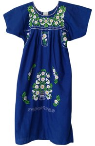 short dress Mexican Peasant Blue Embroidered Cinco De Mayo on Tradesy