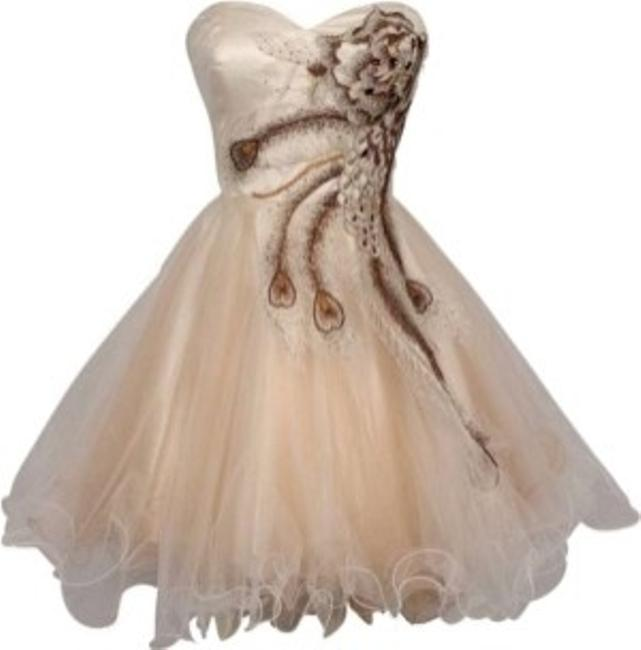 Preload https://img-static.tradesy.com/item/128684/ivory-metallic-peacock-embroidered-holiday-party-prom-strapless-sweetheart-knee-length-formal-dress-0-0-650-650.jpg