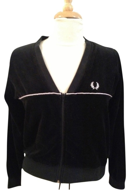 Item - Black and Pale Pink Velour Sporty Jacket Activewear Size 8 (M)