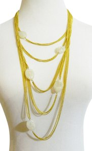 Amrita Singh Amrita Singh Citla Multi Chain White Jade Resin Necklace Gold Tone Metal