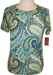 JM COLLECXTION Top SZ PM BLUE GREEN PRINT