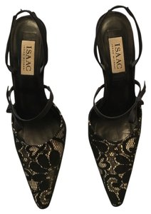 Isaac Mizrahi Lace Slingback Bow Satin Black & White Pumps