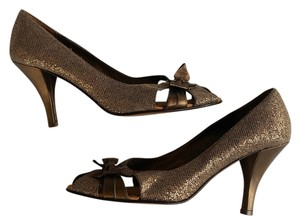 Charles David Glitter Leather Metallic Bow Peep Toe Bronze Pumps
