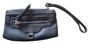 Nine West Soft Zipper Faux Leather Wristlet in Black
