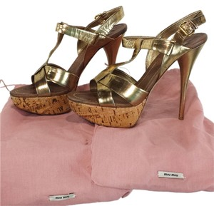 Miu Miu Gold Platforms