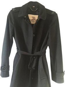Burberry Wool Flare Ruffle Trench Coat