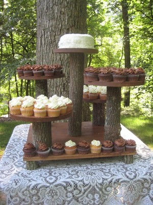 Handmade Multi Tiered Wooden Rustic Cupcake And Cake