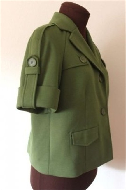 Ann Taylor LOFT Boxy Cropped Military Epaulets Green Jacket