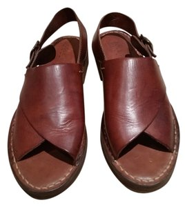 Cole Haan Leather Buckle Open Toe Brown Sandals