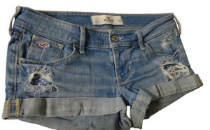 Hollister Short Distressed Cuffed Shorts Blue