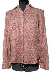 Anthropologie Casual Floral Summer Spring Button Down Shirt red floral