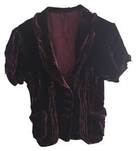 Garnet Red Velvet Jacket with Short Sleeves Top