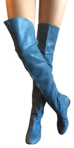 Chloé Chloe Leather Overtheknee Flat Sky Blue Boots