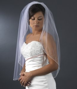 Elegance By Carbonneau White Fingertip Wedding Veil With Beaded Crystal Trim