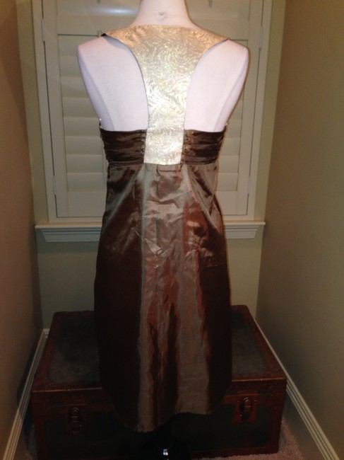 Anthropologie short dress Brown Gold Size 8 on Tradesy