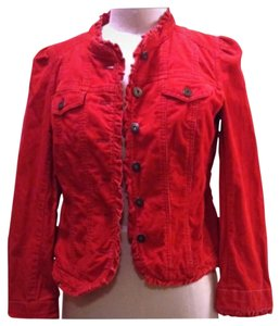 Ann Taylor LOFT Ruffle Vibrant Holiday Red Jacket
