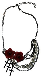 Hot Topic Rose and cross necklace by Hot Topic