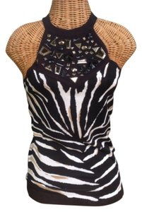 Cache Nwt Halter Animal Print Beaded Rhinestone Sweater