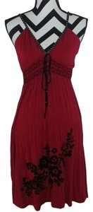 Soul Revival short dress Red Embroidered Crystals on Tradesy