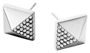 Michael Kors MKJ3942 Michael Kors Pyramid Studs Earrings Polished Silver Tone Crystal Pave